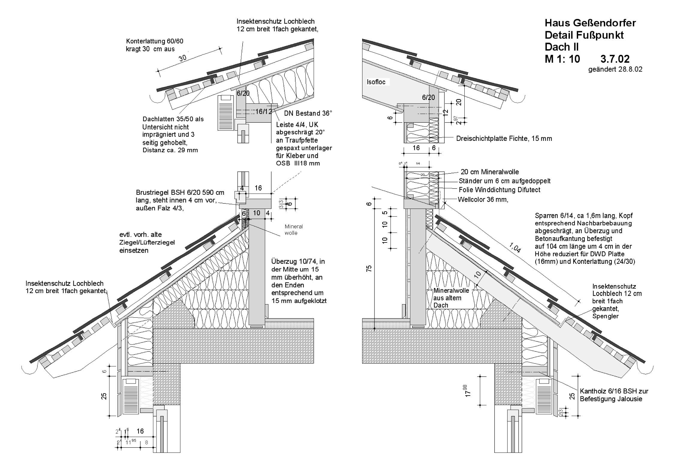 1A_Haus Geßendorfer - Detail Fusspunkt - Dach II